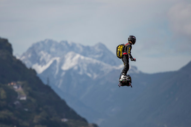Franky Zapata of France performs a show with his Flyboard at the International Breitling Sion Airshow, in Sion, Switzerland, 15 September 2017. (Photo by Christian Merz/EPA/EFE)
