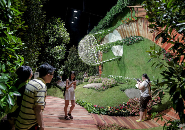 Visitors walk through an installation at the Singapore Garden Festival at the Gardens by the Bay in Singapore, 27 July 2016. The Singapore Garden Festival 2016 runs from 23 to 31 July and features landscape and floral designs from international and local florists. (Photo by Wallace Woon/EPA)