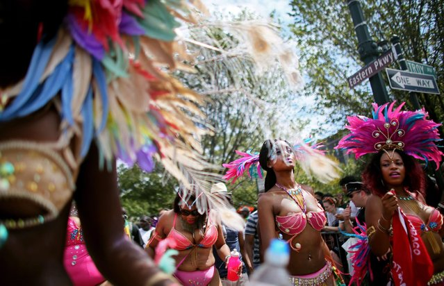 Revelers participate in the annual West Indian Day parade held on September 1, 2014 in the Brooklyn borough of New York City. (Photo by Yana Paskova/Getty Images)