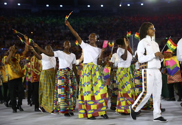 2016 Rio Olympics, Opening ceremony, Maracana, Rio de Janeiro, Brazil on August 5, 2016. Athletes of Ghana take part in the opening ceremony. (Photo by Kai Pfaffenbach/Reuters)