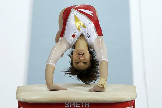 Japan's Akiho Sato competes in the vault event of the women's team final gymnastics competition at the Namdong Gymnasium Club during the 17th Asian Games in Incheon September 22, 2014. (Photo by Kim Hong-Ji/Reuters)