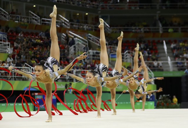 2016 Rio Olympics, Rhythmic Gymnastics, Final, Group All-Around Final, Rotation 1, Rio Olympic Arena, Rio de Janeiro, Brazil on August 21, 2016. Team Israel (ISR) compete using ribbons. (Photo by Mike Blake/Reuters)