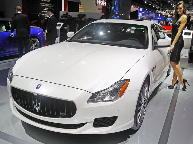 A Maserati Quattroporte GTS  is presented at the Paris Motor Show, in Paris, Thursday October 2, 2014. (Photo by Remy de la Mauviniere/AP Photo)