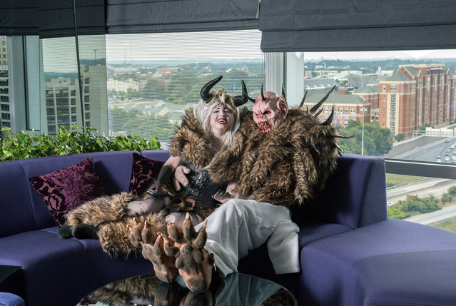 Crampus and the Crampus Queen from Netherworld Haunted House in a suite at W Atlanta Downtown hotel on Thursday, October 7, 2014. (Photo by Hyosub Shin/AJC)