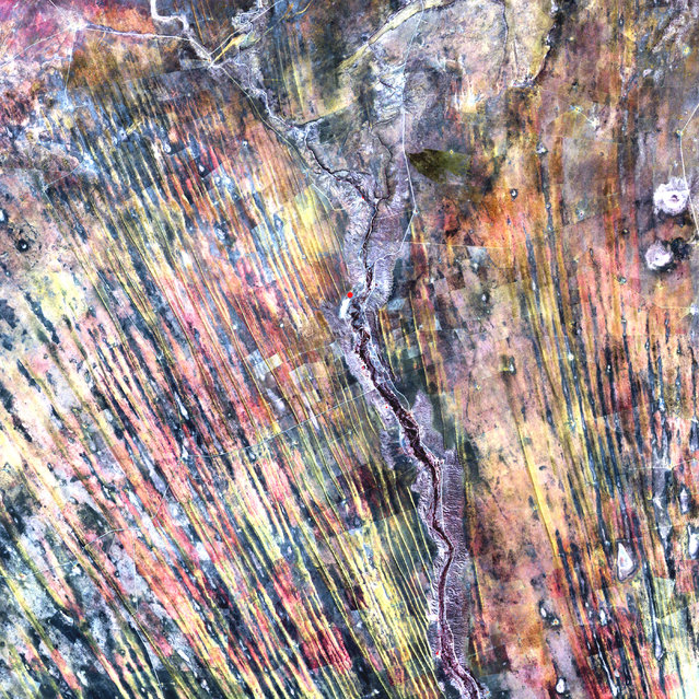 On the edge of the Kalahari Desert in Namibia, sand dunes are encroaching onto once-fertile lands in the north. Healthy vegetation appears red in this image; in the center, notice the lone red dot. It is the result of a center-pivot irrigation system, evidence that at least one optimistic farmer continues to work the fields despite the approaching sand. This image was acquired by Landsat 7's Enhanced Thematic Mapper plus (ETM+) sensor on August 14, 2000. This is a false-color composite image made using near infrared, red, and green wavelengths. The image has also been sharpened using the sensor's panchromatic band. (Photo by NASA/GSFC/USGS EROS Data Center)