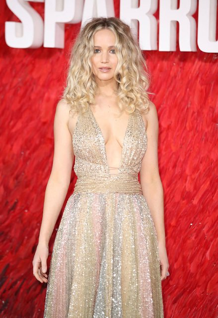"Jennifer Lawrence attneds the European Premeire of ""Red Sparrow"" at Vue West End on February 19, 2018 in London, England. (Photo by Mike Marsland/Mike Marsland/WireImage)"