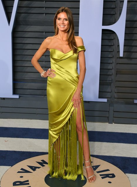 Heidi Klum attends the 2018 Vanity Fair Oscar Party following the 90th Academy Awards at The Wallis Annenberg Center for the Performing Arts in Beverly Hills, California, on March 4, 2018. (Photo by Jean-Baptiste Lacroix/AFP Photo)