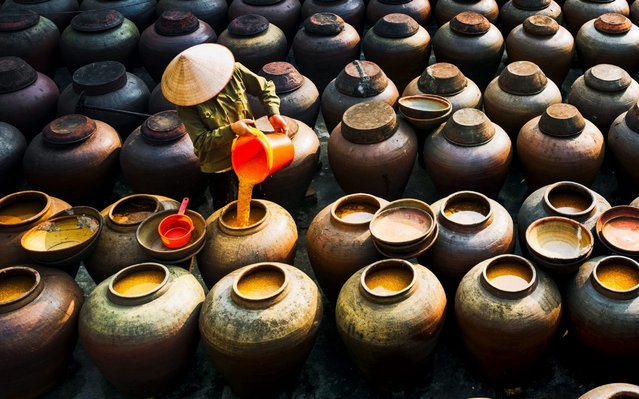 Workers stir hundreds of large ceramic pots as they spend months making a traditional soy sauce on October 14, 2020. Arranged in rows, the containers can hold up to 50 litres of Ban Soy sauce. During the drawn out process the sauce is stirred every two days for two to six months. Ban Yen Nhan village in the Hung Yen Province of Vietnam is famous for its traditional and distinctive method of making the sauce. (Photo by Nguyen Quy/Solent News)