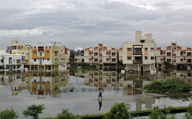 A man walks through a flooded residential area in Chennai, India, December 2, 2015. (Photo by Reuters/Stringer)