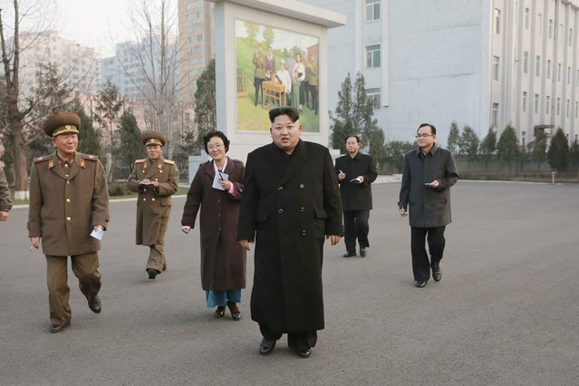 North Korean leader Kim Jong Un (C) visits the Phyongchon Revolutionary Site, in this undated photo released by North Korea's Korean Central News Agency (KCNA) in Pyongyang December 10, 2015. (Photo by Reuters/KCNA)