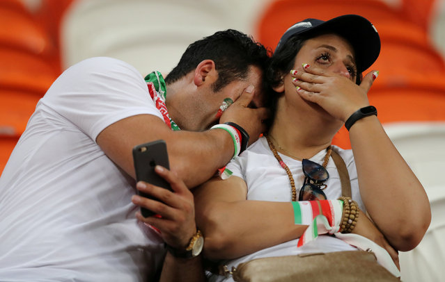 Iran fans look dejected after the Russia 2018 World Cup Group B football match between Iran and Portugal at the Mordovia Arena in Saransk on June 25, 2018. (Photo by Ivan Alvarado/Reuters)