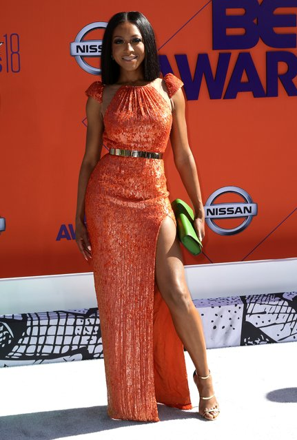Gabrielle Dennis arrives at the BET Awards at the Microsoft Theater on Sunday, June 24, 2018, in Los Angeles. (Photo by Willy Sanjuan/Invision/AP Photo)