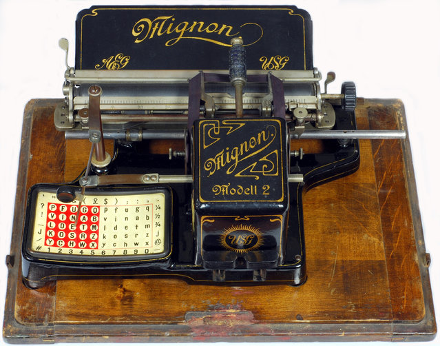 Mignon 2. A.E.G., Berlin, Germany, 1905. Despite its unusual appearance, the Mignon typewriter is of a very clever design, giving a smooth and fast operation for typing