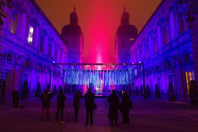 View of Platonium installation by artist Eric Michel et Akari-Lisa Ishii at the city hall during the rehearsal for the Festival of Lights (Fetes des Lumieres) in Central Lyon, France, late December 7, 2016. (Photo by Emmanuel Foudrot/Reuters)