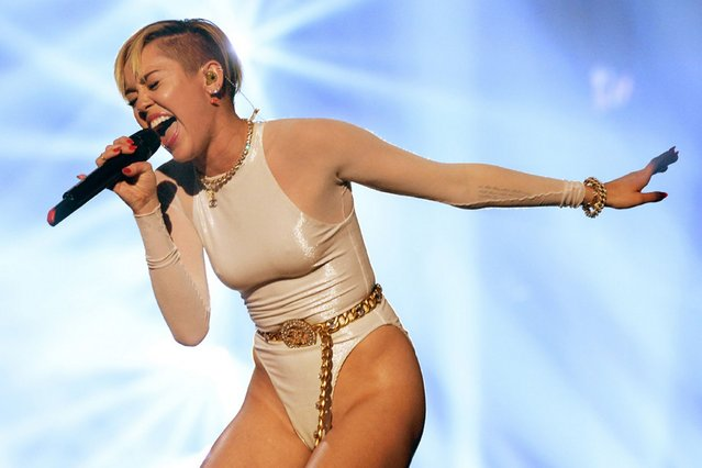 Miley Cyrus performs at the MTV EMA's 2013. (Photo by Jeff Kravitz/FilmMagic)