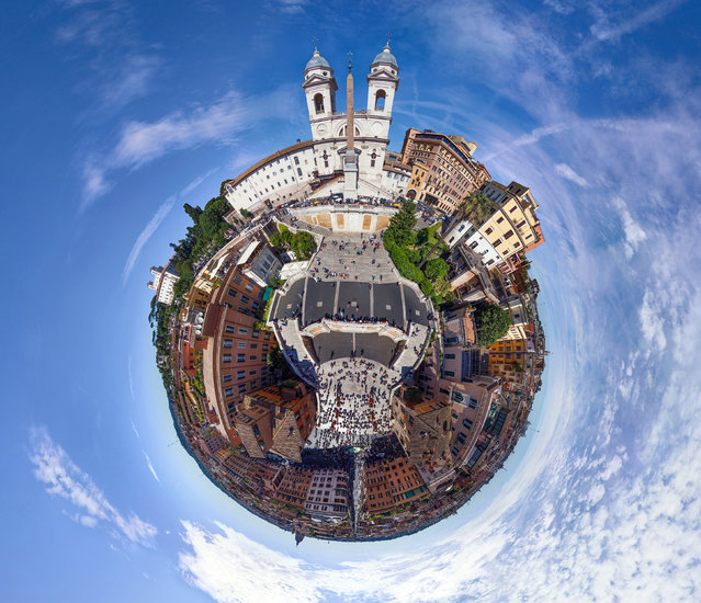 The Spanish steps, Rome, Italy. (Photo by Airpano/Caters News)