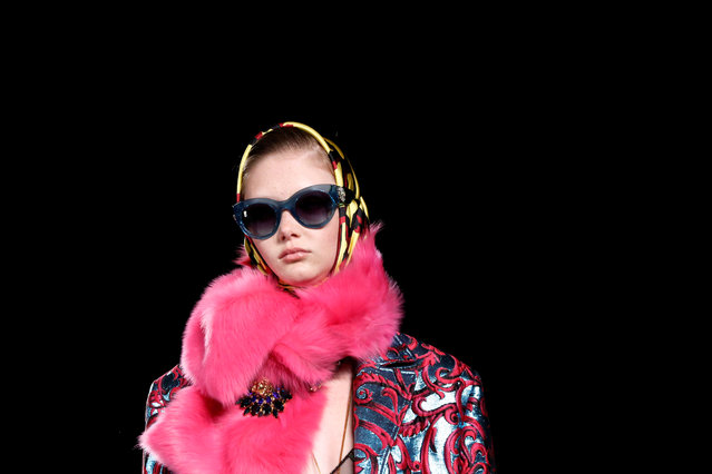 A model walks the runway at the Versace Pre-Fall 2019 Runway Show on December 2, 2018 in New York City. (Photo by Allison Joyce/Reuters)