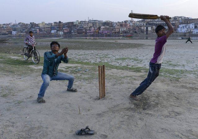 Locals play cricket along the river during the Holi festival celebrations in Uttar Pradesh State, Mathura, India on March 23, 2013. (Photo by Dimier Fabrice)