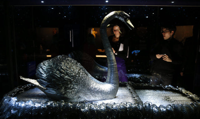 The mechanical Silver Swan dating from 1774 that have three separate clock work mechanisms by John-Joseph Merlin a Belgian clock maker, during a press preview for the Robots exhibition held at the Science Museum in London, Tuesday, February 7, 2017. The exhibition which shows 500 years of mechanical and robotic advances is open to the public form Feb. 8 through to Sept. 3. (Photo by Alastair Grant/AP Photo)