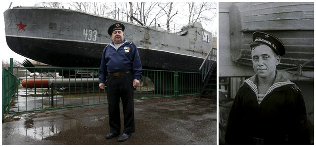 World War Two veteran and former navy sailor Boris Davydov, 87, is seen in an undated handout photo (R) and posing for a picture in front of a BK-433 Soviet military guard vessel, produced in 1942, at the Central Armed Forces Museum in Moscow, Russia on April 16, 2015. Davydov, a Soviet navy serviceman, served at a minehunting ship at the Black Sea fleet. (Photo by Maxim Zmeyev (L)//Family Handout via Reuters (R))