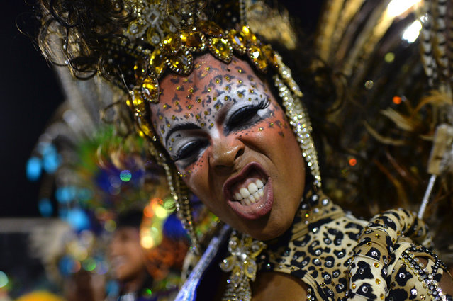 First Princess of the Carnival, Clara Cristina Paixao de Oliveira, performs at the Sambadrome in Rio de Janeiro, Brazil, on March 2, 2014. (Photo by Yasuyoshi Chiba/AFP Photo)