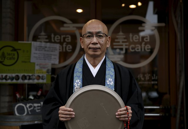 Shokyo Miura, a Buddhist monk and one of the on-site priests, poses for pictures outside Tera Cafe in Tokyo, Japan, April 1, 2016. (Photo by Yuya Shino/Reuters)