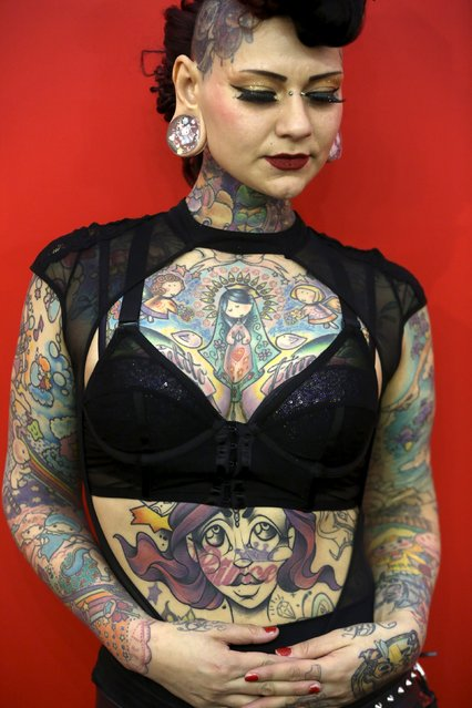 Model Aima Indigo poses for a portrait during the Great British Tattoo Show in Alexandra Palace in north London, Britain May 23, 2015. (Photo by Neil Hall/Reuters)