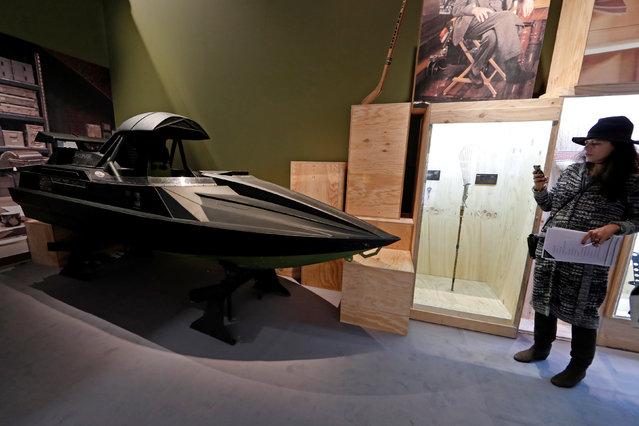 """A Q Boat from the James Bond film """"The World Is Not Enough"""" is displayed during a press presentation of the exhibition """"The Designing 007: Fifty Years of Bond Style"""" at the Grande Halle de la Villette in Paris, France, April 13, 2016. (Photo by Benoit Tessier/Reuters)"""