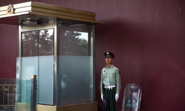 A Chinese People's Liberation Army (PLA) soldier stands guard near the Tiananmen Square in Beijing, China, 16 May 2019. This year, 04 June 2019 marks the 30th anniversary of the 1989 Tiananmen Square protests. Between 15 April and 04 June 1989, students, intellectuals, and activists engaged in a series of demonstrations against the Chinese Communist Party where the subsequent crackdown by authorities caused a vast number of civilians' deaths and injuries. The Tiananmen Square protests remains one of the most sensitive and most widely censored topics in China. (Photo by Roman Pilipey/EPA/EFE)