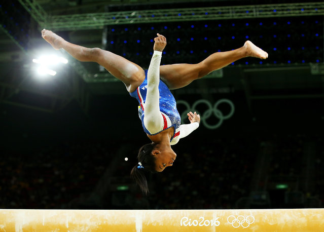 Simone Biles of the United States competes on the balance beam during the Women's Individual All Around Final on Day 6 of the 2016 Rio Olympics at Rio Olympic Arena on August 11, 2016 in Rio de Janeiro, Brazil. (Photo by Alex Livesey/Getty Images)