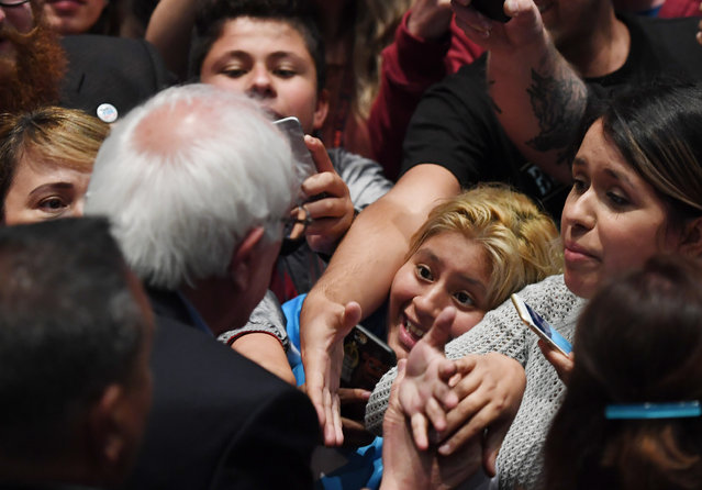 Presidential candidate, Bernie Sanders greets people after speaking at a rally at the Anaheim Convention Center on Tuesday May 24, 2016 in Anaheim, CA. The primary in California is June 7th. (Photo by Matt McClain/The Washington Post)