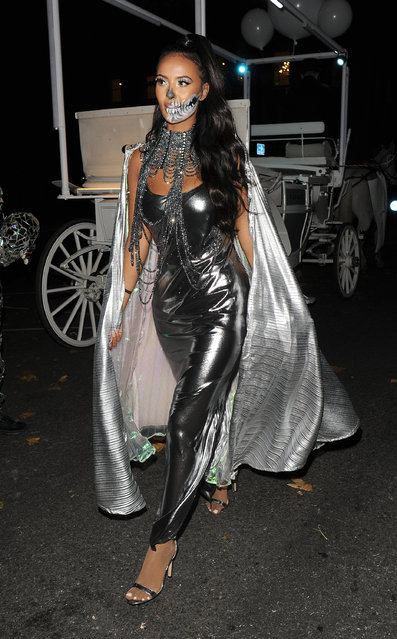 Maya Jama seen at Coach Halloween Carriage Parade on October 30, 2019 in London, England. (Photo by The Mega Agency)