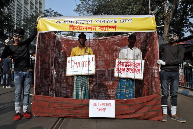 Demonstrators display a make-shift detention camp during a protest against a new citizenship law, in Kolkata, December 30, 2019. (Photo by Rupak De Chowdhuri/Reuters)