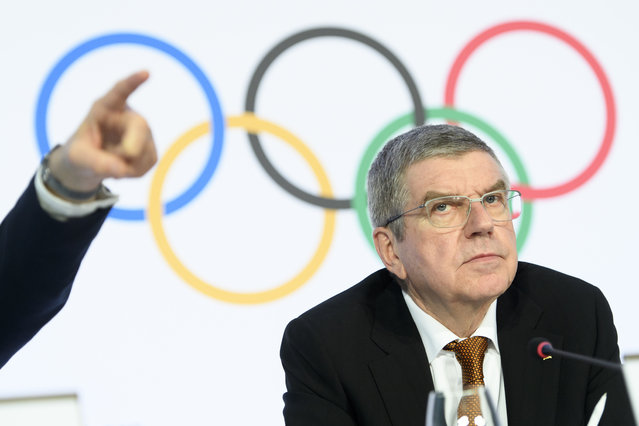 International Olympic Committee (IOC) president Thomas Bach attends a press conference after the executive board meeting of the IOC at the Olympic House, in Lausanne, Switzerland, Thursday, January 9, 2020. (Photo by Laurent Gillieron/Keystone via AP Photo)