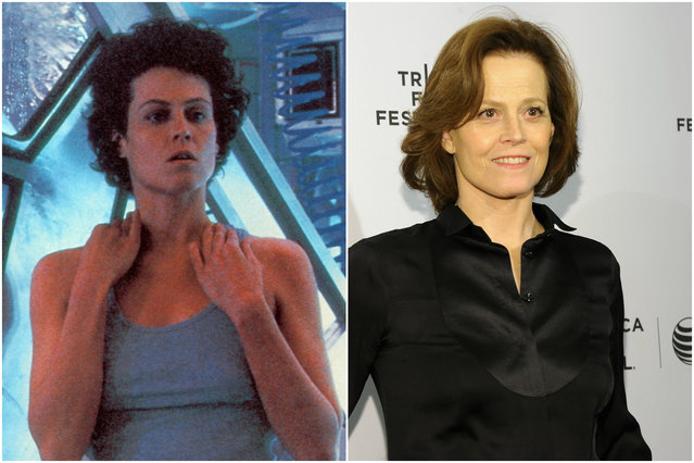Sigourney Weaver in 1993 and today. (Photo by Everett Collection/Getty Images)