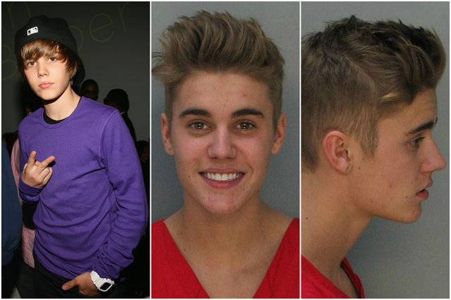 For a while, the worst thing Justin Bieber did was spread Bieber Fever. But that didn't last long: In 2012, he was busted for reckless driving; in 2013 he was accused of vandalism in Brazil. On January 9, 2014, one of Bieber's Calabasas, California, neighbors accused the singer of egging his home. (Photo by Getty Images/Everett Collection)