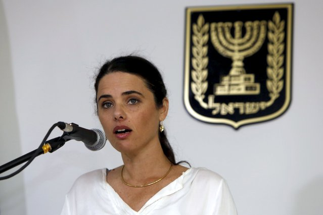 Ayelet Shaked, Israel's new Justice Minister of the far-right Jewish Home party, speaks during a ceremony at the Justice Ministry in Jerusalem May 17, 2015. (Photo by Gali Tibbon/Reuters)