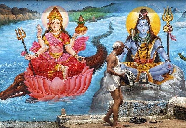 A devotee walks past the mural of Hindu deities after taking a holy dip in the Narmada river at Dwari Ghat in Jabalpur, India, June 27, 2016. (Photo by Jitendra Prakash/Reuters)