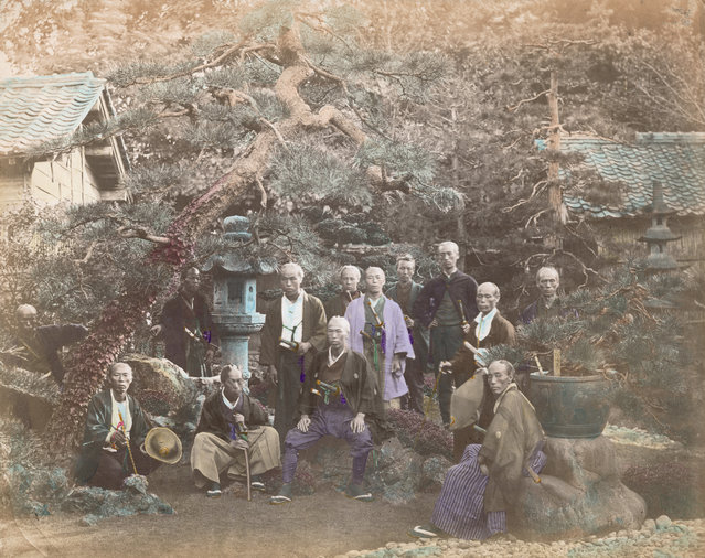 A group of officers in the service of a prince from the north of Japan, circa 1865. (Photo by Felice Beato/Spencer Arnold)