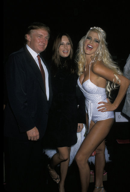 Donald Trump and Melania Knauss. Hanging out with Playmate pal Victoria Silvstedt behind the scenes of a Betsey Johnson fashion show in New York City on September 9, 2000. (Photo by Ron Galella/WireImage)