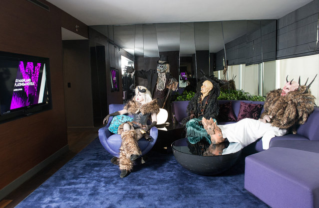 Monsters from Netherworld Haunted House (from left) the Crampus Queen, The Collector, Hagatha the Witch and Crampus in a suite at W Atlanta Downtown hotel on Thursday, October 7, 2014. (Photo by Hyosub Shin/AJC)