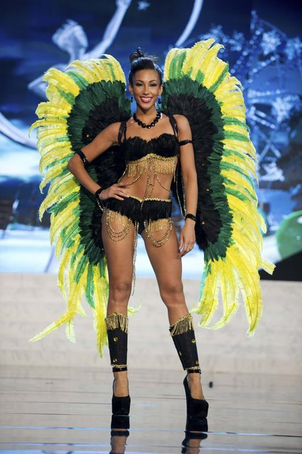 Miss Jamaica Chantal Zaky on stage at the 2012 Miss Universe National Costume Show on Friday, December 14, 2012 at PH Live in Las Vegas, Nevada. The 89 Miss Universe Contestants will compete for the Diamond Nexus Crown on December 19, 2012. (Photo by AP Photo/Miss Universe Organization L.P., LLLP)