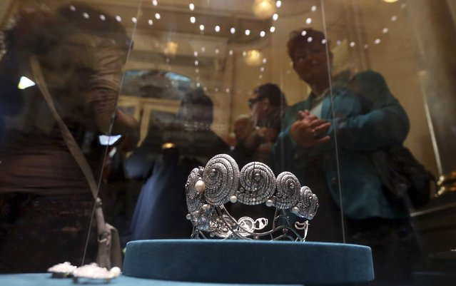 An exhibit is pictured at the newly reopened Royal Jewelry Museum in Alexandria October 19, 2014. The Royal Jewelry Museum, which houses some 924 pieces of jewelry, medals and other belongings of the former Mohamed Ali Dynasty royal family, reopened to the public on Sunday after closing for security reasons in 2011 following the January 25 Revolution, according to local media. (Photo by Mohamed Abd El Ghany/Reuters)