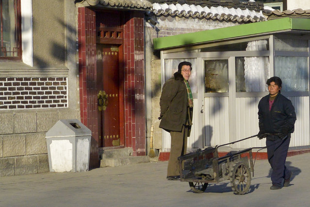 Daily life in the capital in February 2013, in Pyongyang, North Korea. (Photo by Andrew Macleod/Barcroft Media)