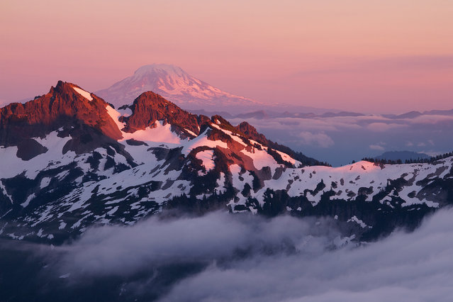 The last light of the day falls on the Tatoosh Mountains and Mount Adams, as seen from the Skyline Trail, Washington. (Photo by U.S. Department of the Interior/Cater News)