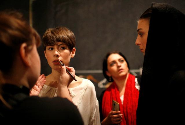Models get ready backstage at the Tbilisi Fashion Week in Tbilisi, Georgia, October 21, 2016. (Photo by David Mdzinarishvili/Reuters)