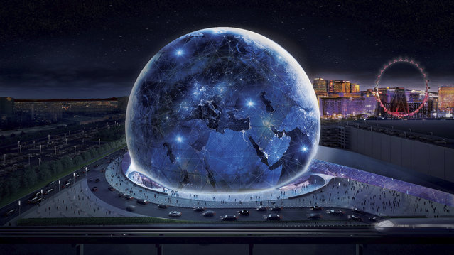This conceptual rendering released by Madison Square Garden shows the exterior of the MSG Sphere Las Vegas arena. An 18,000-seat, sphere-shaped venue that will host concerts and other entertainment events on the Las Vegas Strip will break ground this summer. The Madison Square Garden Company on Friday, May 18, 2018, revealed details of the project it is developing in partnership with Las Vegas Sands, which operates two casino-resorts adjacent to the planned arena. (Photo by Madison Square Garden via AP Photo)
