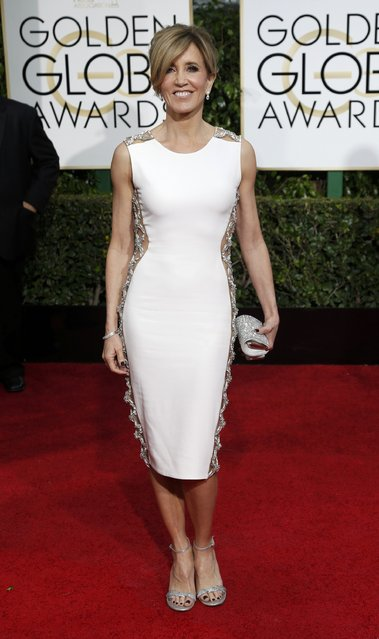 Actress Felicity Huffman arrives at the 72nd Golden Globe Awards in Beverly Hills, California January 11, 2015. (Photo by Mario Anzuoni/Reuters)