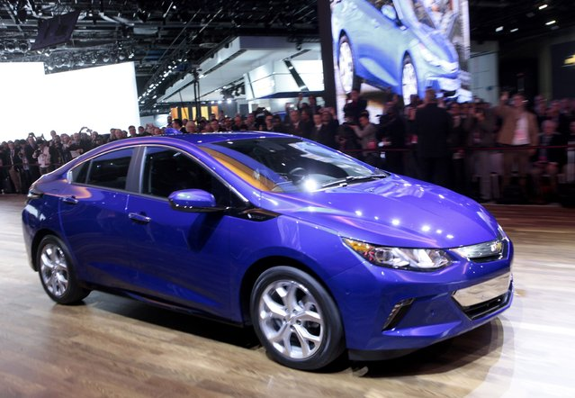 The 2016 Chevrolet Volt hybrid is shown during the first press preview day of the North American International Auto Show in Detroit, Michigan January 12, 2015. (Photo by Rebecca Cook/Reuters)