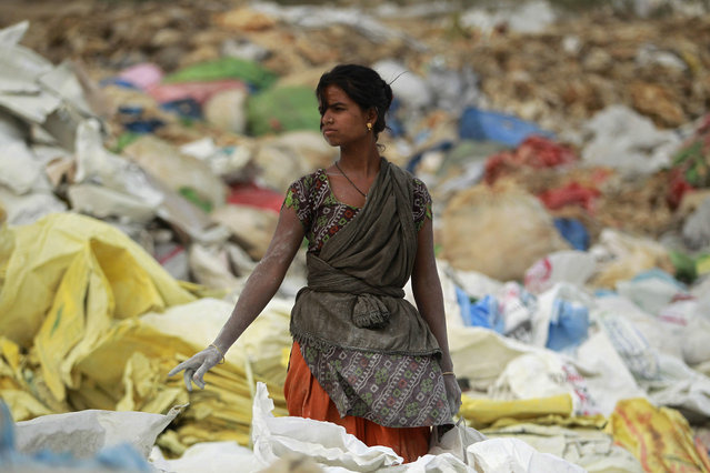 An Indian rag picker collects plastic bags at an industrial area on the outskirts of Jammu, India, Tuesday, June 5, 2018. The U.N. says government bans on plastic can be effective in cutting back on waste but poor planning and follow-through have left many such bans ineffective. (Photo by Channi Anand/AP Photo)